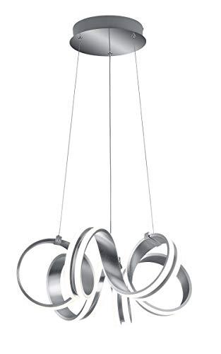 Trio Leuchten LED Pendelleuchte Carrera 325010105, Metall Aluminium gebürstet, inkl. 38 Watt LED, Switch Dimmer