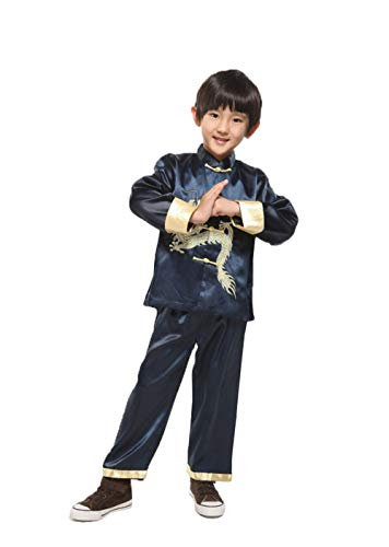 Suimiki Traditional Chinese Dragon Kung Fu Outfit Tang Suit for Boys Navy 12