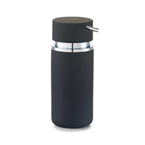 Zeller Rubber Dispensador de jabón líquido, cerámica, Negro, 6.6 x 16 x 6.6 cm