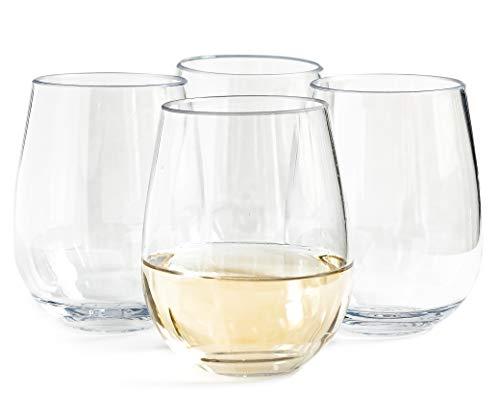 Vinjoy Unbreakable Stemless Plastic Wine Glasses 16 Ounce (Set Of 4) - Extra Durable - Reusable Shatterproof Tritan Indoor Outdoor Party Cups - Dishwasher Safe - Bar Glassware