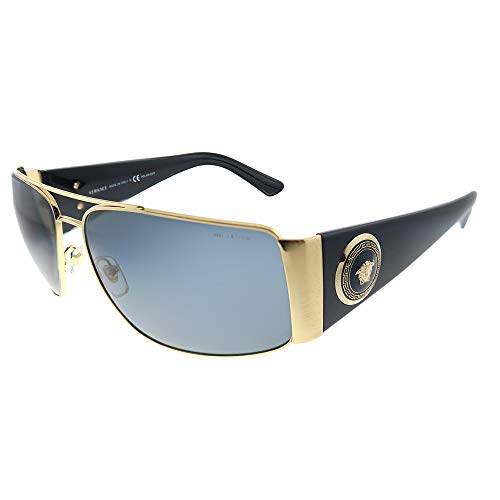 Versace VE 2163 100281 Gold Metal Aviator Sunglasses Grey Polarized Lens
