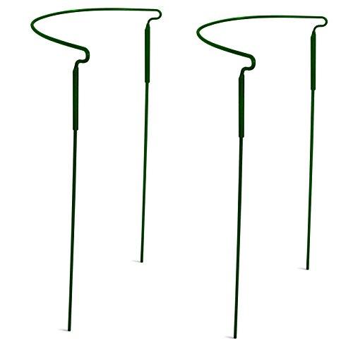 Gray Bunny Halbrunder Pflanzenstützring/-käfig – 38,1 x 76,2 cm, 2 Stück, grün Farbe, solider Stahl, rost- und UV-beständig, halbrunde Pflanzenbegrenzung, Metallstütze, Drahtreifen-Pflanzenstützsystem