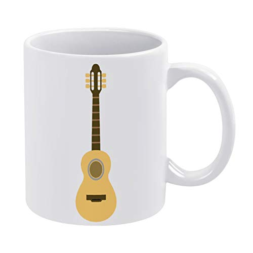 Taza de café con diseño de guitarra, 330 ml, color blanco