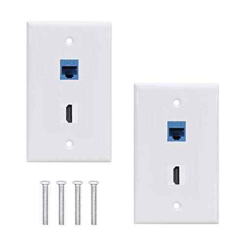 HDMI Ethernet Cat6 Wallplate 2Pack,2 Port Wall Plate with HDMI Keystone Female to Female Jack + Cat6 Ethernet Wall Plate