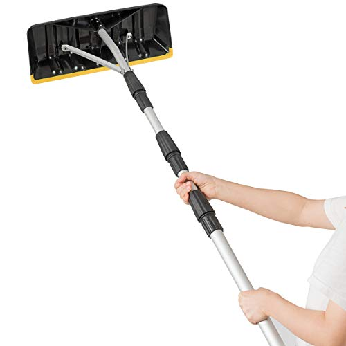 Buy Discount Goplus Roof Snow Rake, Large Blade 21ft Extension Light Weight Aluminum Rake, Snow, Wet...