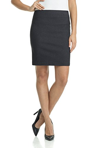 Rekucci Women's Ease Into Comfort Above The Knee Stretch Pencil Skirt 19 inch (Medium,DK Charcoal)