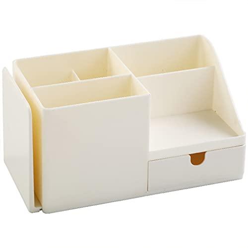 PHILSP Soporte multiusos para maquillaje de cuidado de la piel 4 compartimentos con cajón deslizante expandible sujetalibros para el hogar y la oficina, color blanco