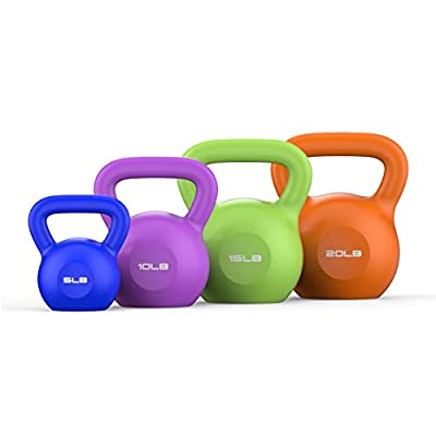 Kettlebells Weight Sets, 5/10/15/20lbs - Fitness Kettlebell Training Arm Lifting, Core, Leg |Kettle Dumbbell Comfortable Grip Wide Handle & Rubber Bottom by Valenfit
