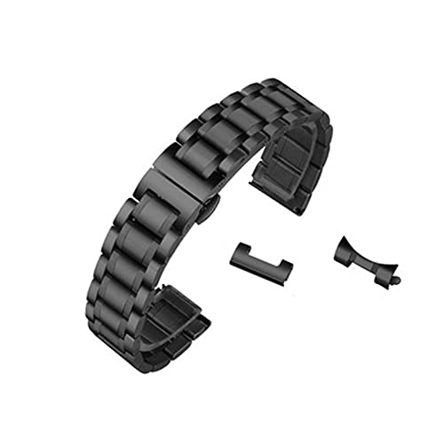 Universal Premium Stainless Steel Metal Buckle Watch Straps for Men Women Bracelet Strap All Links Removable Replacement Band with Tools Compatible with Most Watches,black,23mm