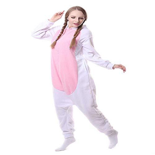 JIAWEIDAMAI - Pijama de Cabra Blanca para Hombre Adulto, Mujer, Invierno, cálido, Forro Polar, Disfraz de Animal, Cosplay, Festival, Fiesta, Suelto, Kigurumi, M