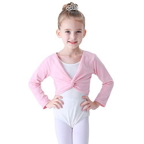 Soudittur Ballettjacke Mädchen Langarm Weichem Baumwollstoff Wärmende Ballettkleidung für Kinder (Rosa, 115-125)