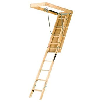Louisville Ladder 22.5-by-54-Inch Wooden Attic Ladder Fits 8-Foot 9-Inch to 10-Foot Ceiling Height 250-Pound Capacity L224P