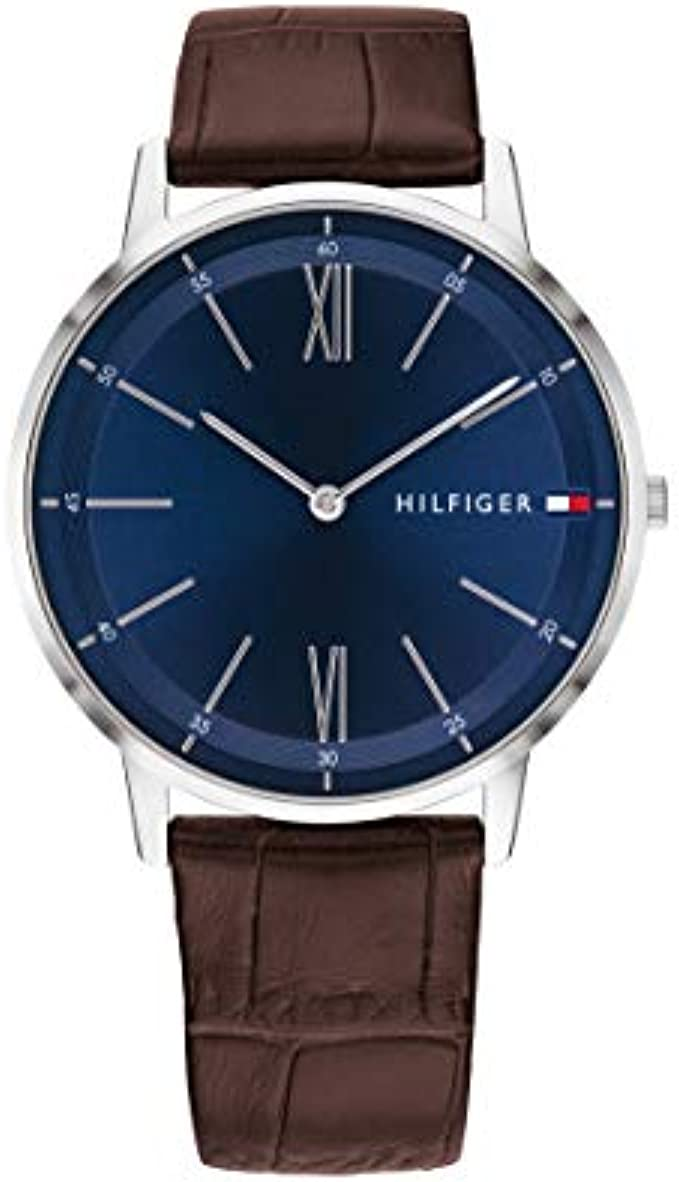 Tommy Hilfiger Men's Stainless Steel Quartz Watch with Leather Strap, Brown, 20