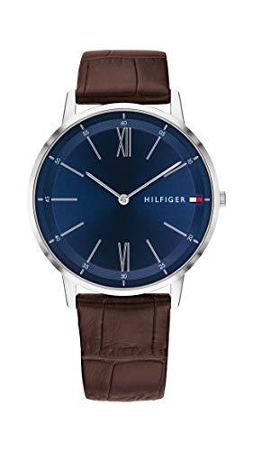 Tommy Hilfiger Relógio masculino de quartzo de aço inoxidável com pulseira de couro, marrom, 20 (modelo: 1791514)