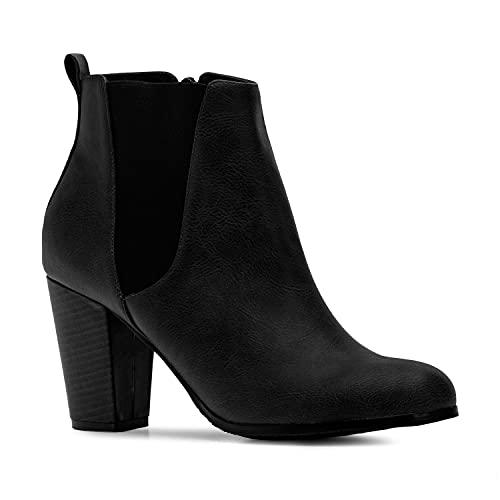 Andrés Machado - Hohe Stiefeletten mit breitem Absatz für Damen und junge Frauen - AM41 - Ancle Boots/Chelsea/Cowgirl/Western - Schwarz EU 34