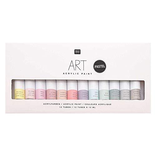 Rico Design Art Künstler Acrylfarben-Set Pastell - 12 Farben je 12 ml Tuben - Malfarbe für Anfänger, Profikünstler, Kinder & Erwachsene