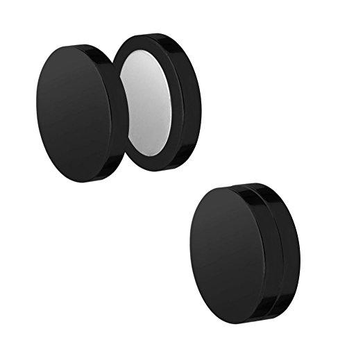 SoulCats® magnetische Fakeplugs Ohrringe ohne Ohrloch Ohrclips, Größe:10 mm, Farbe:Schwarz