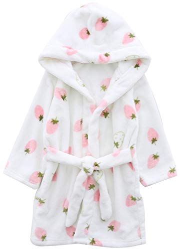 Girls' Bath Robe, Cute Strawberry Print Warm Plush Fleece Bathrobe Robe for Baby Toddler & Little Girls, White Strawberry, US 4/Height(39.4'-43.3')