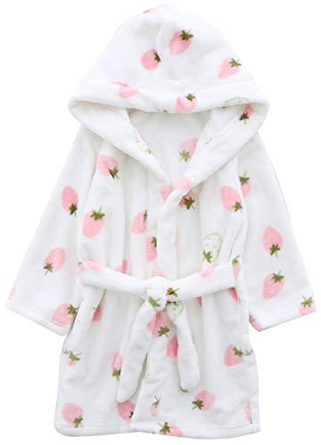 Girls' Bath Robe, Cute Strawberry Print Warm Plush Fleece Bathrobe Robe for Baby Toddler & Little Girls, White Strawberry, US 4/Height(39.4