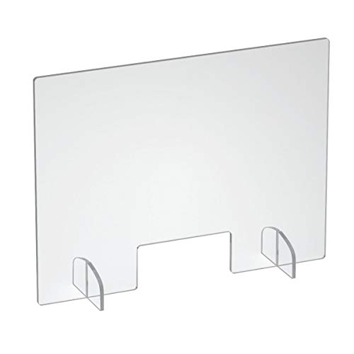 NIUBEE Acrylic Sneeze Guard 32'' x 24'', Clear Freestanding Protective Shield for Countertop, Desk, Reception, Checkout, Office, Landscape