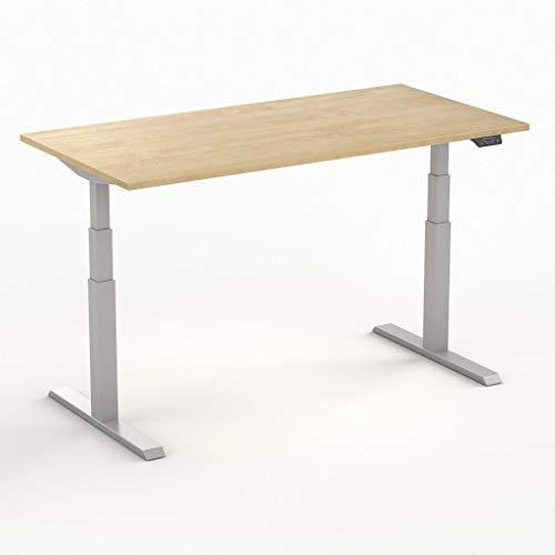 Worktrainer Elektrischer Sitz-Steh-Schreibtisch Steelforce 470 (Silber/Wildbirne 140 x 80cm)