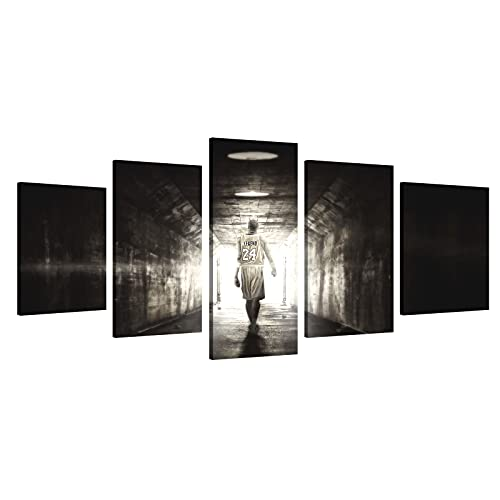 MIJNUX Kobe Bean Bryant - Cuadro decorativo para pared, 5 piezas, lienzo para sala de estar, póster de 20,3 x 30,5 cm, 20,3 x 40,6 cm, 20,3 x 50,8 cm, marco interior