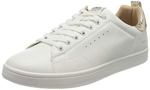 ONLY Damen ONLSHILO Animal PU Sneaker, Detail:w. Gold White, 36 EU