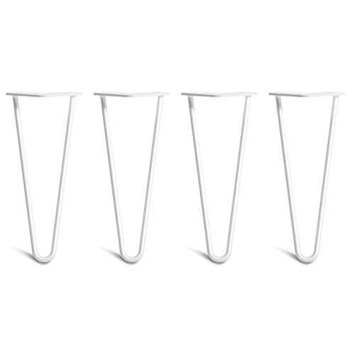 [HLC] 4 x Hairpin Table Legs – Superior Double Weld Steel Construction with Free Screws, Build Guide & Protector Feet, Worth $10! – 4' to 34', All Finishes, Classic 3/8' [12', 2 Rod, White]