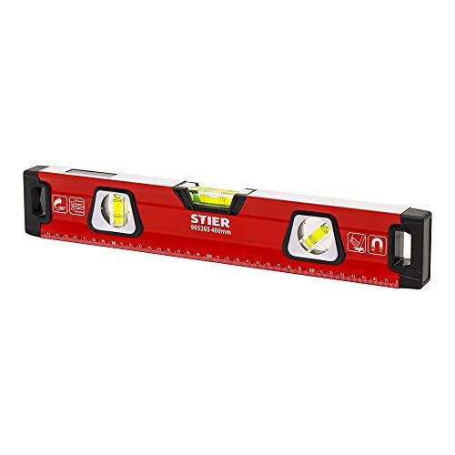 STIER Premium Wasserwaage   mit Magnet und drei Libellen   400 mm   0,5 mm/m   vertikal und horizontal messen