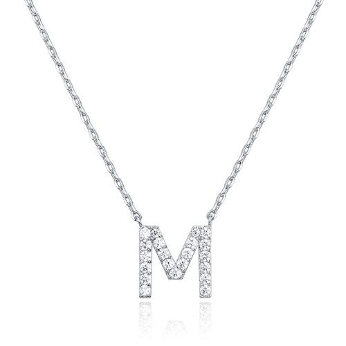 PAVOI 14K White Gold Plated Cubic Zirconia Initial Necklace | Letter Necklaces for Women | M Initial