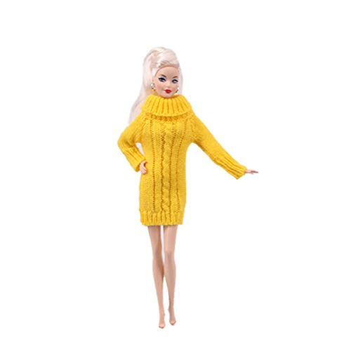 Doll Clothes Dresses Soft Flexible Winter High-Necked Sweater Dress for Cute Baby Doll 11.5 Inch Girl Toy