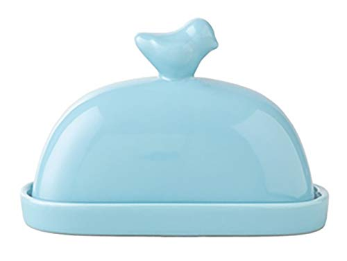 ARAD Blue Bird Ceramic Butter Dish with Cover, Covered Cheese Holder with Tray, Kitchen Essentials