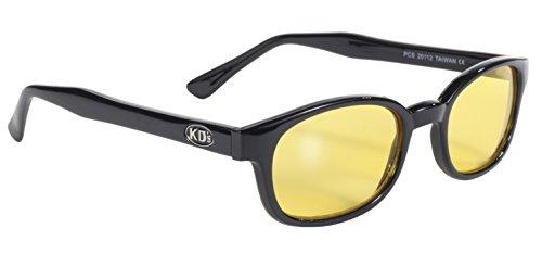 Pacific Coast Original KD's Biker Sunglasses (Black Frame/Yellow Lens)