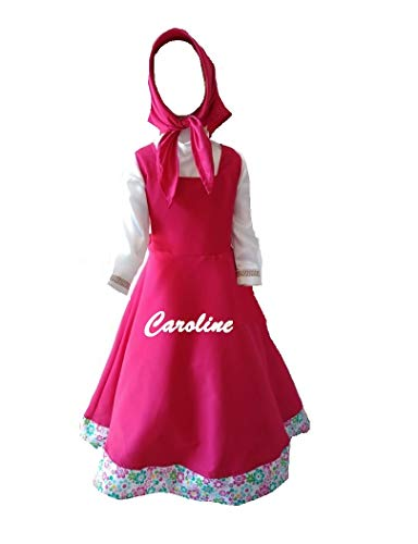 CAROLINE Disfraz O Vestido DE Masha Y EL Oso con Diadema (6 AÑOS)