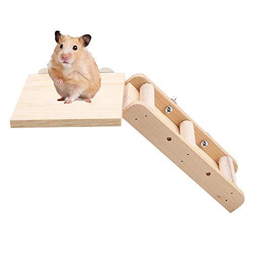 Kleine dieren Speelgoed, Houten Springboard Platform & Ladder Trappen Combinatie voor Papegaai Hamster en Andere Kleine Huisdieren Klimmen Speelgoed