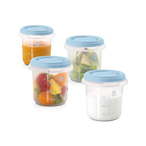 Miniland Frischebehälter Set, Frischhaltedosen für Babynahrung, 4 x 250ml
