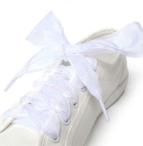 Molinter - Lacci per scarpe con nastro di raso largo ribbon, piatti, in chiffon trasparente e organza satinata, per bambini e adulti, 110 x 4 cm