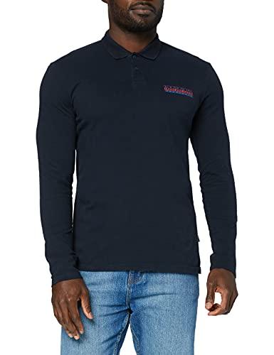 Napapijri Polo da uomo a maniche lunghe ERIS, blu navy, XL