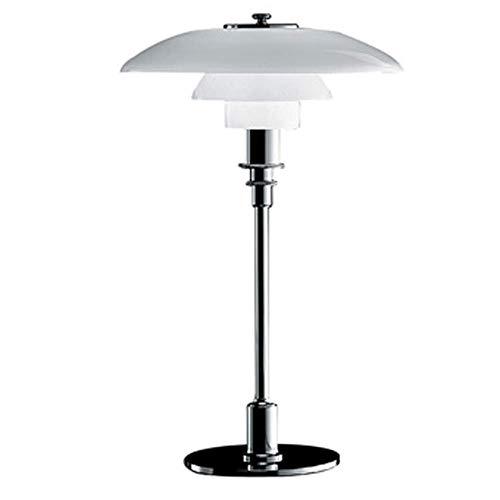 Small Weiß Chrom Skandinavische Tischleuchte/Moderne Nachttisch-Leuchte Opalglas Lampe Durchmesser: 28.5 cm Höhe: 45 cm Mit Chromfuß,Weiß