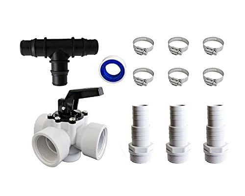 PoolSun Bypass-Set Pool Adapter für Poolheizung Schlauchanschluss 32/38mm