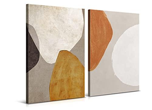 Set de 2 Cuadros de 40 x 60 cm - Arte Abstracto Moderno - Decoración para Salón y Dormitorio, Lienzo de Poliéster y Bastidor de Madera - 2 Piezas, LEN-116