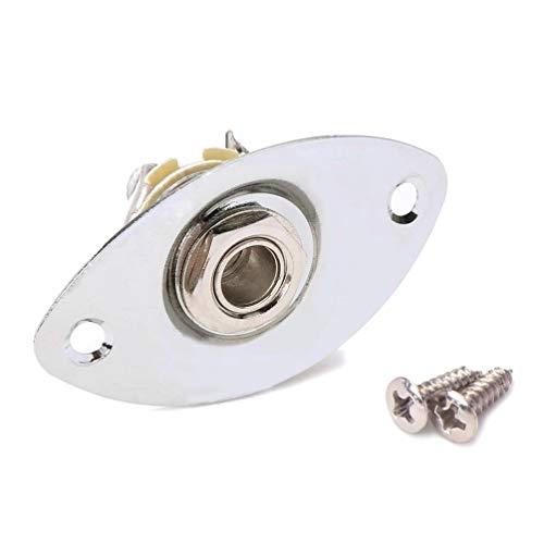 HEALLILY entrada de guitarra salida jack enchufe zócalo placa ovalada con 2 tornillos de montaje para guitarra eléctrica mono (plata)