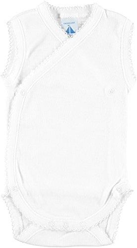 BABIDU 1154 Body Tirante Cruzado Canale 1x1 Ropa de Bautizo, Blanco (Blanco 1), 56 (Tamaño del Fabricante:1) Unisex bebé