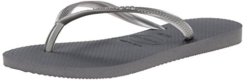 Havaianas Women's Slim Flip Flop Sandal, Steel Grey, 9-10