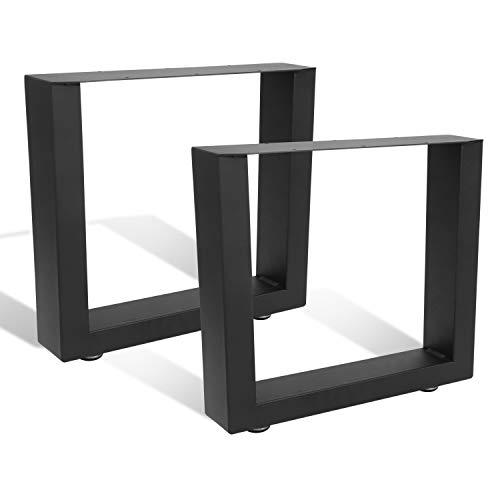 BMOT 2x Tischkufen Tischgestell DIY Möbelfüße 70x72cm, für Schrank, Couchtisch, Esstisch, mit Verstellbare Bodenschutzmatten Industrie Möbelfüße, Schwarz
