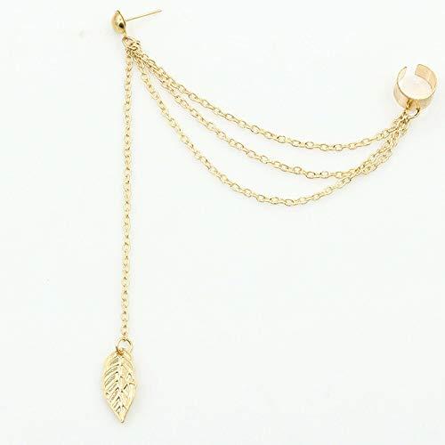 GWTRY Earings largo de las mujeres de moda Earing for las mujeres que cuelgan 1piece del punk rock estilo joven Hoja regalo de la cadena de la borla de los pendientes de Q60 ( Metal Color : Oro )