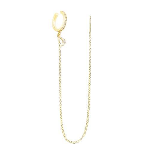 Pendiente De Boda De Plata De Ley 925 Auténtica para Mujer con Cadena, Joyería De Moda, Brazalete De Plata para Oreja, Una Pieza Goldmoon