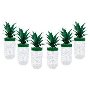 Malibu Cocktail Becher Set aus Kunststoff ananasform grün ca. 0,3l 300ml - 6 Stück Mehrweg Trinkbecher Cocktailbecher Ananas Glas Gläser