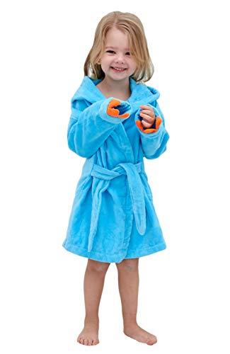 Boys Girls Toddler Robe,Kids Hooded Cotton Terry Cloth Bathrobe,Animal Dinosaur Pajamas Sleepwear Bathrobes for Girls Kids (Small / 1-3 Years, Blue)