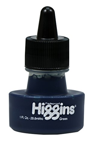 Higgins Dye-Based Drawing Ink, Green, 1 Oz Bottle (44110)